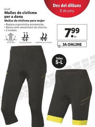 Oferta de Mallas de ciclismo para mujer por 7,99€
