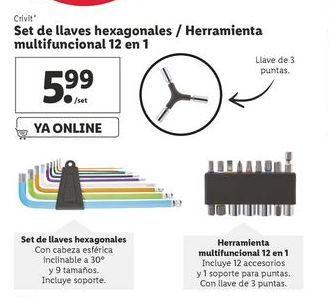 Oferta de Set de llaves hexagonales / Herramienta multifuncional 12 en 1 por 5,99€