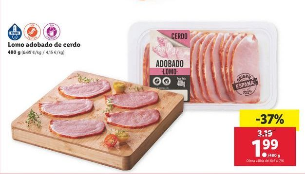 Oferta de Lomo adobado de cerdo por 1,99€