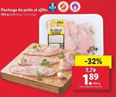 Oferta de Pechuga de pollo al ajillo por 1,89€