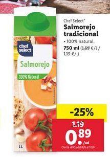 Oferta de Salmorejo tradicional por 0,89€
