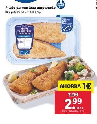 Oferta de Filetes de merluza empanado por 2,99€