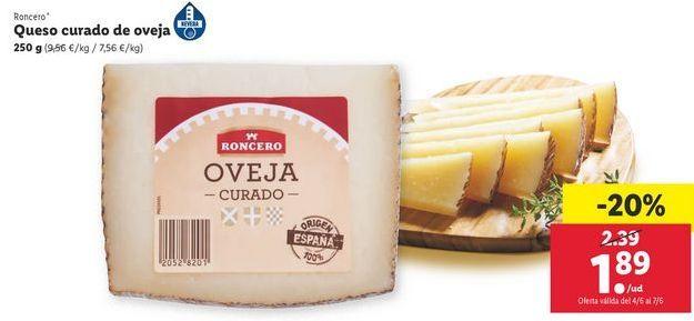 Oferta de Queso curado de oveja Roncero por 1,89€