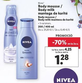 Oferta de Body mousse / Body milk manteca de karité por 4,25€