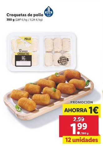 Oferta de Croquetas de pollo por 1,99€
