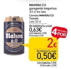 Oferta de Cerveza Mahou 0,0 Tostada por 0,63€