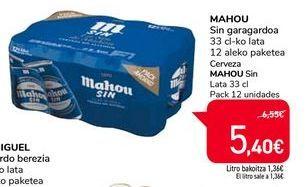Oferta de Cerveza Mahou Sin por 5,4€