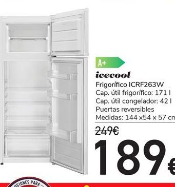 Oferta de Frigorífico ICRF263W por 189€