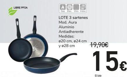 Oferta de LOTE 3 sartenes por 15€