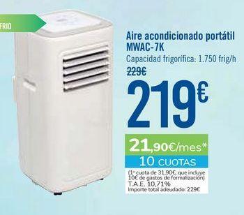 Oferta de Aire acondicionado portátil MWAC-7K por 219€