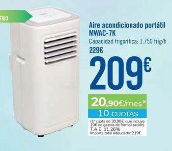 Oferta de Aire acondicionado portátil MWAC-7K por 209€
