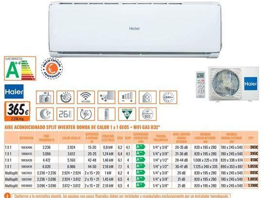 Oferta de Aire acondicionado Haier por 365€