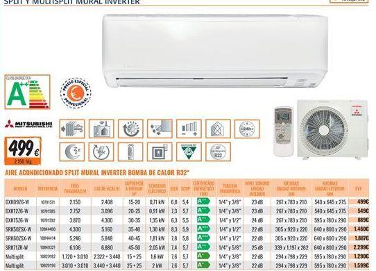 Oferta de Aire acondicionado Mitsubishi Electric por 499€