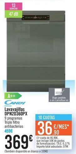 Oferta de Lavavajillas CANDY DPN2D360PX CANDY  por 369€
