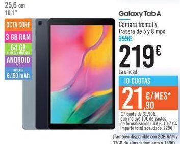 Oferta de Galaxy Tab A por 219€