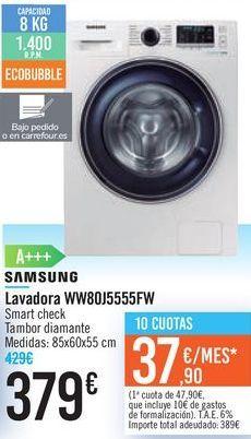 Oferta de Lavadora SAMSUNG WW80J5555FW por 379€