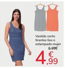 Oferta de Vestido corto tirantes liso o estampado mujer por 4,99€