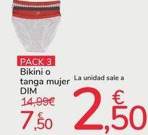 Oferta de Pack 3 bikini tanga mujer DIM por 7,5€