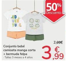 Oferta de Conjunto bebé camiseta manga corta + bermuda felpa por 3,99€