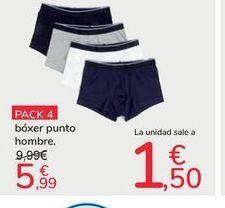 Oferta de Pack 4 bóxer punto hombre por 5,99€