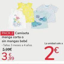 Oferta de Pack 2 camiseta manga corta o sin mangas bebé por 3,99€
