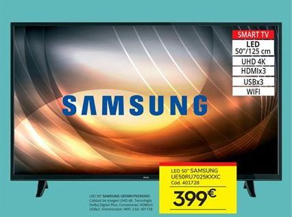 Oferta de Smart tv led 50'' Samsung por 399€