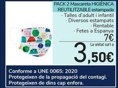 Oferta de PACK 2 Mascarilla HIGIÉNICA REUTILIZABLE estampada por 7€