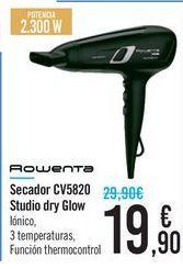 Oferta de Secador CV5820 Studio Dry Glow Rowenta  por 19,9€