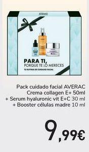 Oferta de Pack cuidado facial AVERAC Crema Collagen + Serum hyaluronic + Booster células madre  por 9,99€