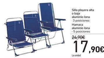 Oferta de Silla playera alta o baja aluminio lona  por 17,9€