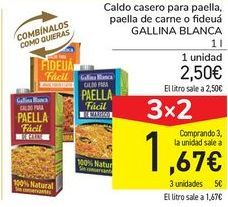 Oferta de Caldo casero para paella, paella de carne o fideuá GALLINA BLANCA por 2,5€