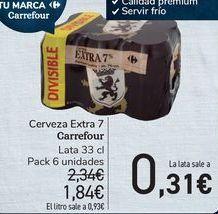 Oferta de Cerveza Extra 7 Carrefour  por 1,84€