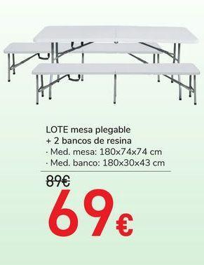 Oferta de LOTE mesa plegable + 2 bancos de resina  por 69€