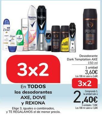 Oferta de En TODOS los desodorantes AXE, DOVE y REXONA por