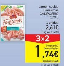 Oferta de Jamón cocido Finíssimas CAMPOFRÍO  por 2,61€