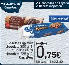 Oferta de Gakketas Digestive chocolate o cookies 40$ chocolate Carrefour  por 0,75€