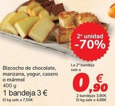 Oferta de Bizcocho de chocolate, manzana, yogur, casero o mármol por 3€