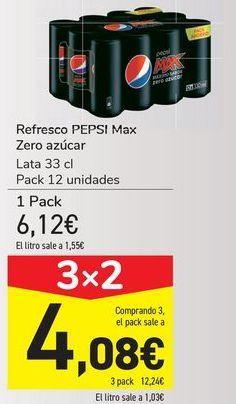 Oferta de Refresco PEPSI Max Zero azúcares  por 6,12€