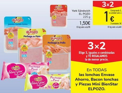 Oferta de En TODAS las lonchas Envase Ahorro, Bacon lonchas y Pìezas Mini Bienstar ELPOZO  por