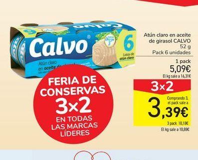 Oferta de Atún claro en aceite de girasol Calvo por 5,09€