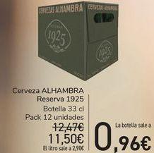 Oferta de Cerveza ALHAMBRA Reserva 1925  por 11,5€