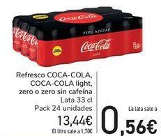 Oferta de Refresci COCA COLA, COCA COLA Light, Zero o Zero sin cafeína  por 13,44€