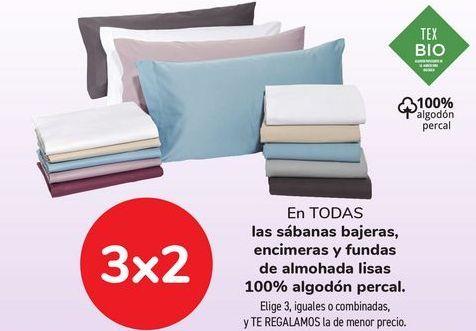Oferta de En TODAS las sábanas bajeras, encimeras y fundas de almohada lisa 100% algodón percal. por