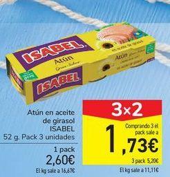 Oferta de Atún en aceite de girasol ISABEL por 2,6€