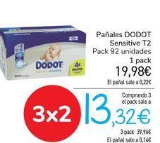 Oferta de Pañales DODOT Sensitive T2  por 19,98€
