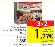 Oferta de Campurrianas chocolate CUETARA  por 2,65€