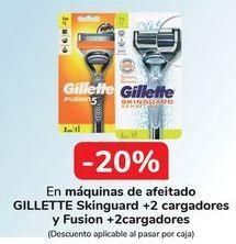 Oferta de En máquinas de afeitado GILLETTE Skinguard + 2 cargadores y Fusion + 2 cargadores  por