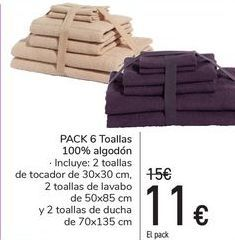 Oferta de Pack 6 toallas 100% algodón  por 11€