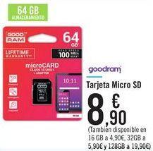 Oferta de Tarjeta Micro SD goodram  por 8,9€