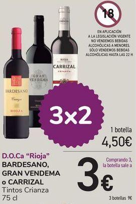 Oferta de Bardesano, Gran Vendema o Carrizal Tinto Crianza  por 4,5€